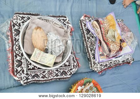 coconut,saree and bundle Of Indian Rupee For Indian Wedding Rituals