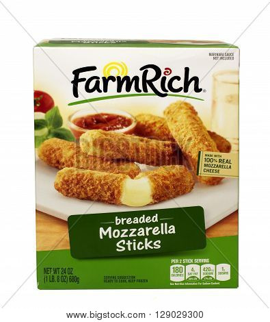 RIVER FALLS,WISCONSIN-MAY 09,2016: A box of Farm Rich brand breaded Mozzarella sticks.