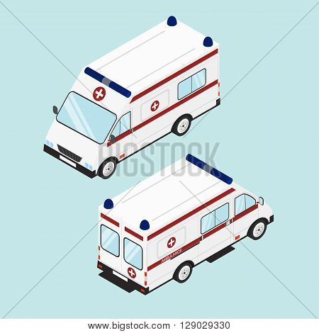 Medical emergency assistance. The white ambulance. Flat isometric. Ambulance icon design. Vector illustration.