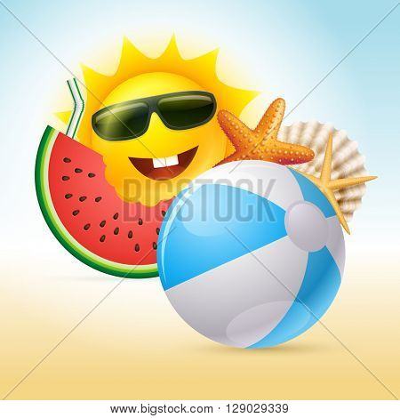 Vector Summer sun character design. Elements are layered separately in vector file. CMYK color mode. Print ready.