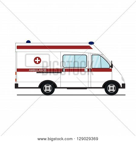 Medical emergency assistance. The white ambulance. A flat style. Side view. Ambulance isolated on white background. Icon design ambulance. Vector illustration.