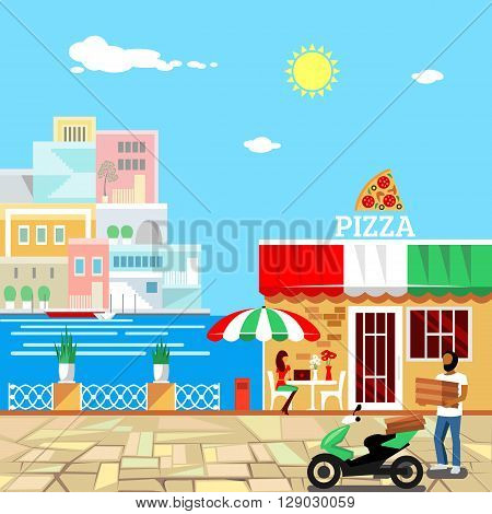Pizza restaurant with terrace in front. Man delivers pizza. Calm place in city center. Woman eats pizza at the table. Pizzeria building . Summer facade. Midday. Hot weather. illustration