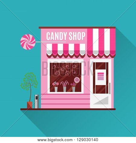 Candy shop in a pink color. Flat design illustration of small business concept.Tasty candies in a shop window. Lollipops boutique. Stylish sweets shop. Confectionery shop. Cute desserts.