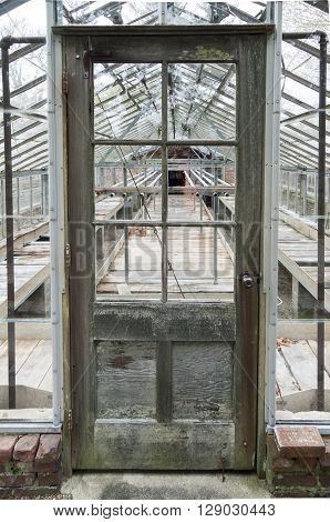 NEW BEDFORD MASSACHUSETTS/USA - MAY 9 2016: Empty greenhouse part of long-term renovation efforts at Allen C. Haskell Public Gardens in New Bedford Massachusetts