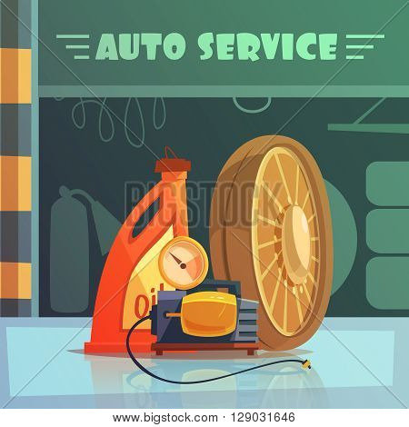 Auto service equipment cartoon background with oil and wheel vector illustration