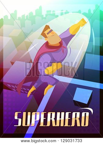 Superhero cartoon poster with big city and flying superman vector illustration