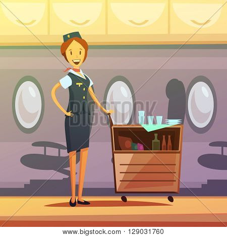 Stewardess and tray with food and drinks in the plane cartoon background vector illustration