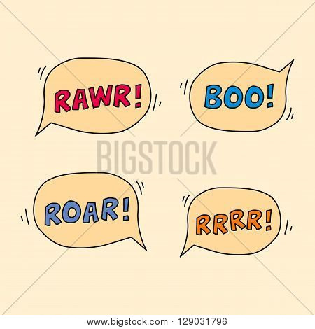 Cartoon monster sound speech bubbles. Rawr, boo, roar, rrr.