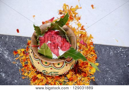 Mangal Kalas With Flowers And Tree Leafs
