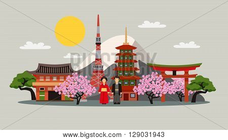 Japan symbols composition flat decorative background poster with kimono dress fuji mountain and sakura blossom abstract vector illustration