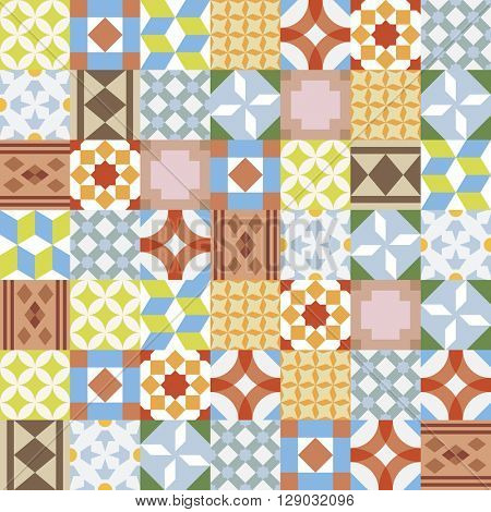 Vector realistic ceramic texture made of vintage tiles. Spanish style seamless pattern.