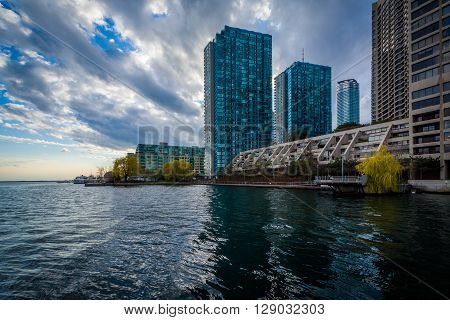 Modern Buildings Along Lake Ontario At The Harbourfront, In Toronto, Ontario.