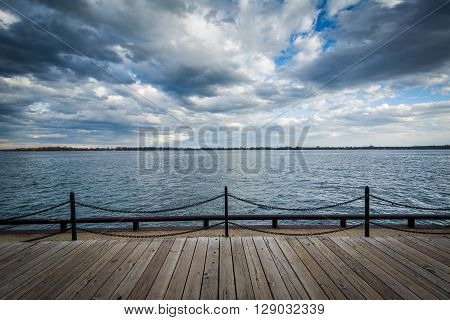 View Of Lake Ontario At The Harbourfront In Toronto, Ontario.