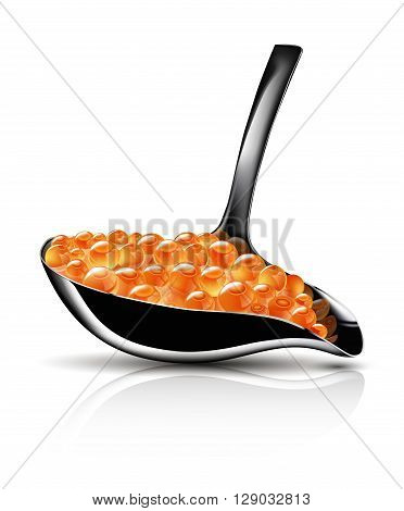 Spoon of red caviar on white background