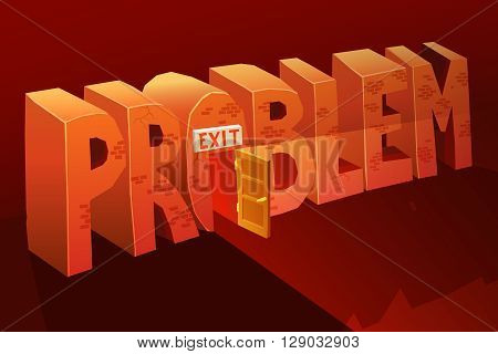 Problem Exit Vector Illustration. Problem Solution Background. Problem Exit Design. Problem Exit Cartoon Decorative Concept.