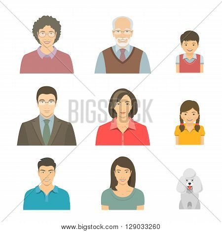 Asian family faces flat vector avatars set. Icons of three family generations mother and father sons and daughters grandmother grandfather and a dog. Family tree portraits infographic elements