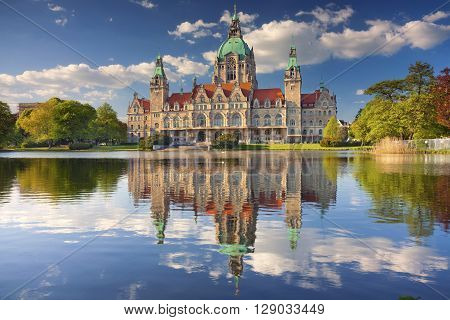 City Hall of Hannover. Image of New City Hall of Hannover, Germany, during sunny spring day.