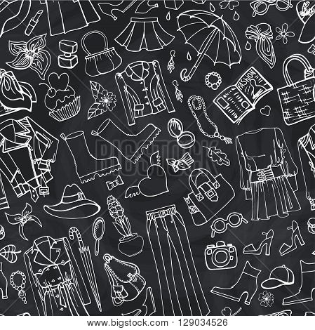 Spring fashion seamless pattern.Vector hand drawing womens clothing, doodle sketch background.Women wear.Outline elements for spring season.Fashion illustration, wallpaper on Chalkboard