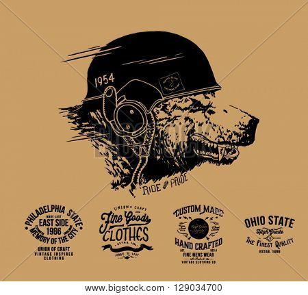 vintage racer  label collection and bear illustration
