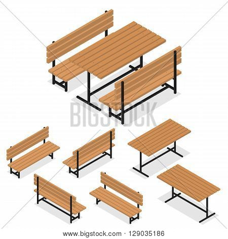 Benches and a table. Flat isometric. A place for rest relaxation and picnic. The element of the Park or grove. Wooden bench and table. The place for meeting friends. Vector illustration.