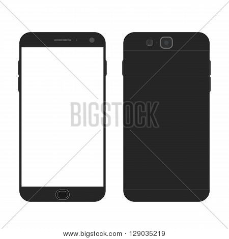 Cell phone. Flat style. Mobile device. Modern technologies of communication. Communication and management. Black smartphone. Touchscreen display. Vector illustration.