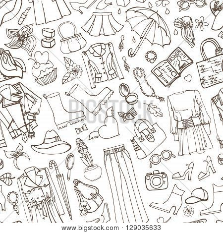 Spring fashion seamless pattern.Vector hand drawing womens clothing, doodle sketch background.Women wear.Outline elements for spring season.Fashion illustration, wallpaper