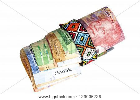 Roll Of South African Banknotes Secured With Zulu Beads