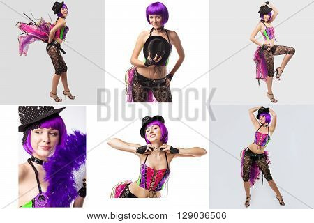 Burlesque. Collage of pretty showgirl with purple hair