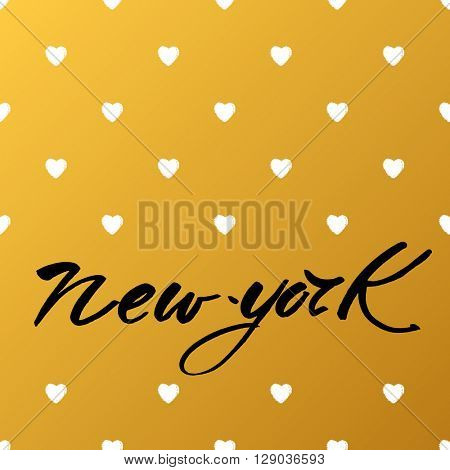 New York city  lettering design template. New York inscription. Handwritten quote. Vector illustration.