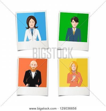 Four instant photos with flat portraits of people on colourful backgrounds isolated on white