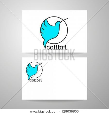 Colibri Logo. Identity card design template. Hummingbird Logo.   Bird icon character. Idea for mascot symbol, icon, emblem. Vector illustration.