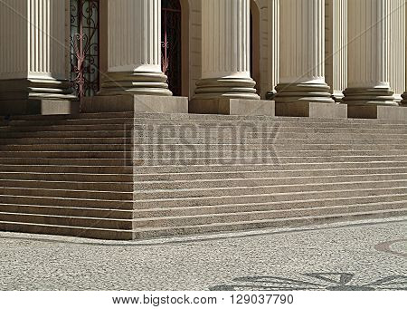 detail external environment of staircase and pillars with ancient architecture