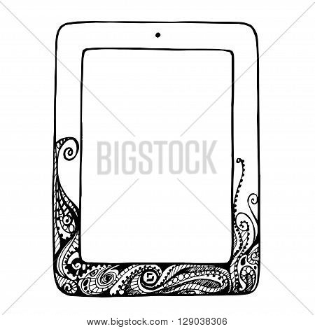Sketch tablet computer with curlicues and flourishes doodle ornament, vector illustration Tablet
