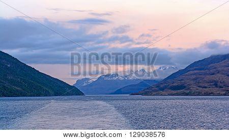 Evening Passage Through an Ocean Fjord in Tierra del Fuego