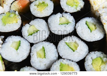 view of fresh and tasty sushi rolls