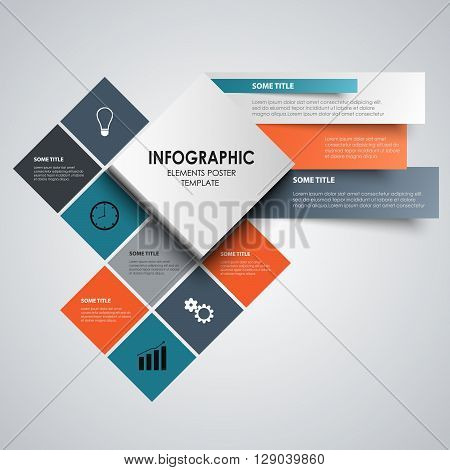 Info graphic with abstract colored squares template vector eps 10