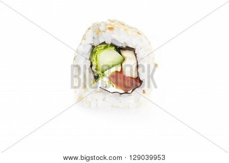 fresh and tasty sushi roll on white