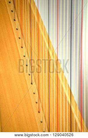 Concert Grand Pedal Harp String Closeup