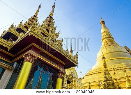 Myanmar Yangon the golden stupas of the Swedagon Pagoda.
