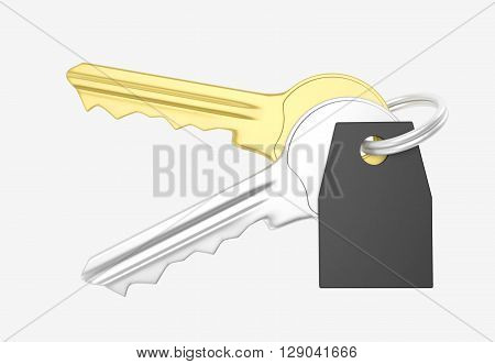 Gold And Silver Key And Trinket With Silver Ring