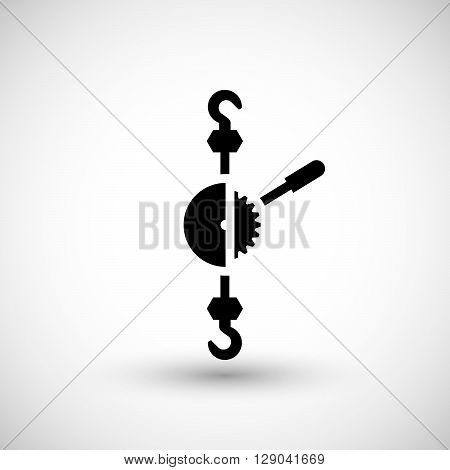 Mechanical hoist icon isolated on grey. Vector illustration