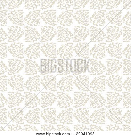 Seamless pattern with abstract beige twisting and curved hand-drawn strokes on white background