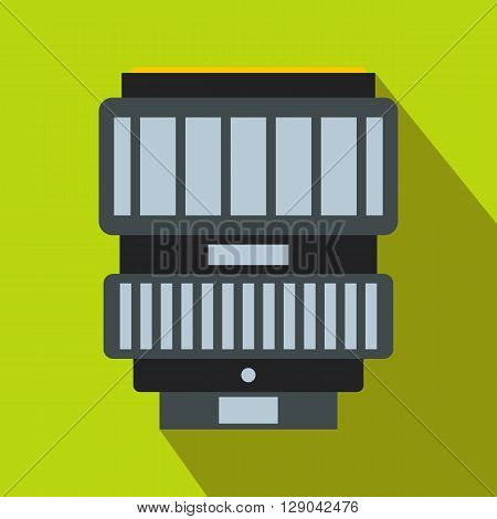 Camera zoom lens icon in flat style on light green background