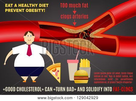 Eat a healthy diet and prevent obesity. Medical poster, leaflet or brochure layout. Editable vector illustration in bright colors on a dark gray background.