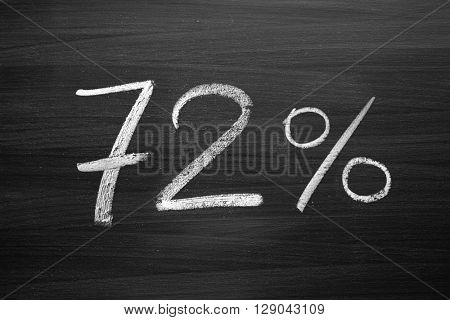72 percent header written with a chalk on the blackboard