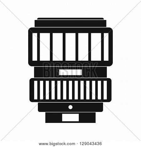 Camera zoom lens icon in simple style isolated on white background