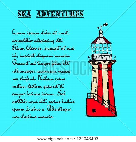 Hand drawn vector vintage lighthouse in grunge style on blue background.