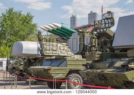 MOSCOW, RUSSIA, MAY 09: military equipment on the VDNKh exhibition May 09, 2015