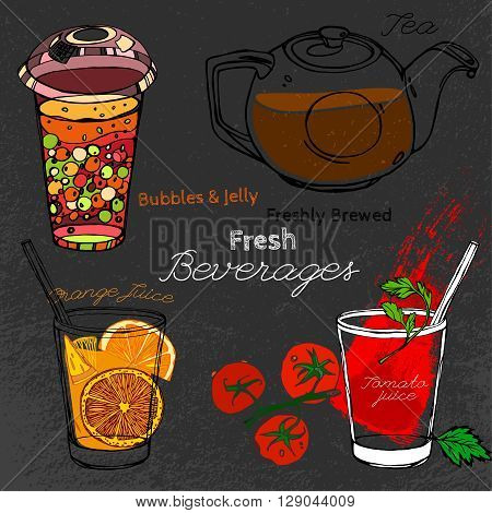 Hand drawn beverages set  in artistic style. Vector editable illustration on a textured dark gray background. Round glass teapot, orange and tomato juice and bubble tea.