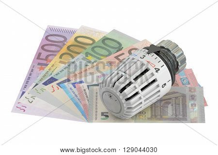 Energy saving concept with thermostat and money 3D rendering